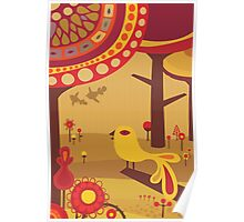 Retro Bird with Trees Poster