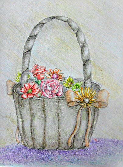 wedding basket of flowers by thuraya o