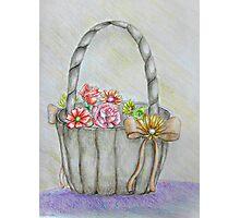 wedding basket of flowers Photographic Print