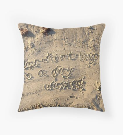 Sayings in the Sand - Charlie Chaplin Throw Pillow