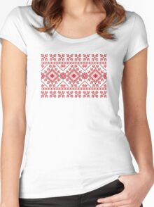 Red and Black Knitting Pattern 2 Women's Fitted Scoop T-Shirt
