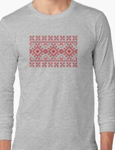 Red and Black Knitting Pattern 2 Long Sleeve T-Shirt