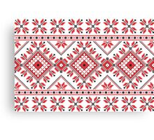 Red and Black Knitting Pattern 2 Canvas Print