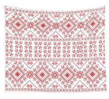Red and Black Knitting Pattern 2 Wall Tapestry