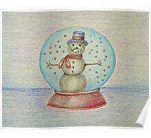 snowman in globe Poster