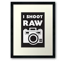 I Shoot RAW - White Framed Print