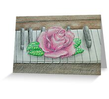 pink rose on piano Greeting Card
