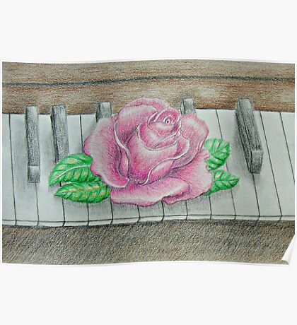 pink rose on piano Poster