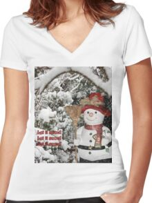 Let It Snow Let It Snow Let It Snow Women's Fitted V-Neck T-Shirt