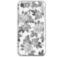 Vintage black white chic roses floral pattern  iPhone Case/Skin