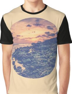 Distant Sun on a Distant Shore - Circle Print Graphic T-Shirt