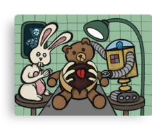 Teddy Bear And Bunny - Bearing The Heart And Paying For It Canvas Print