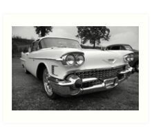 White Caddy in black and white Art Print