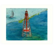 Sombrero Key Lighthouse FL Chart Map Cathy Peek Art Print