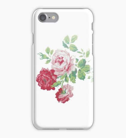 Shabby chic pink red vintage roses pattern  iPhone Case/Skin