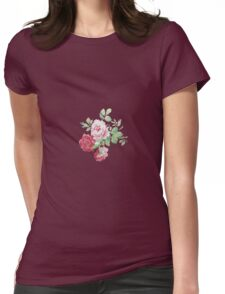 Shabby chic pink red vintage roses pattern  Womens Fitted T-Shirt
