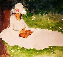 The Reader under the tree, watercolor by Anna  Lewis, blind artist