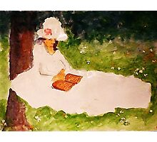 The Reader under the tree, watercolor Photographic Print