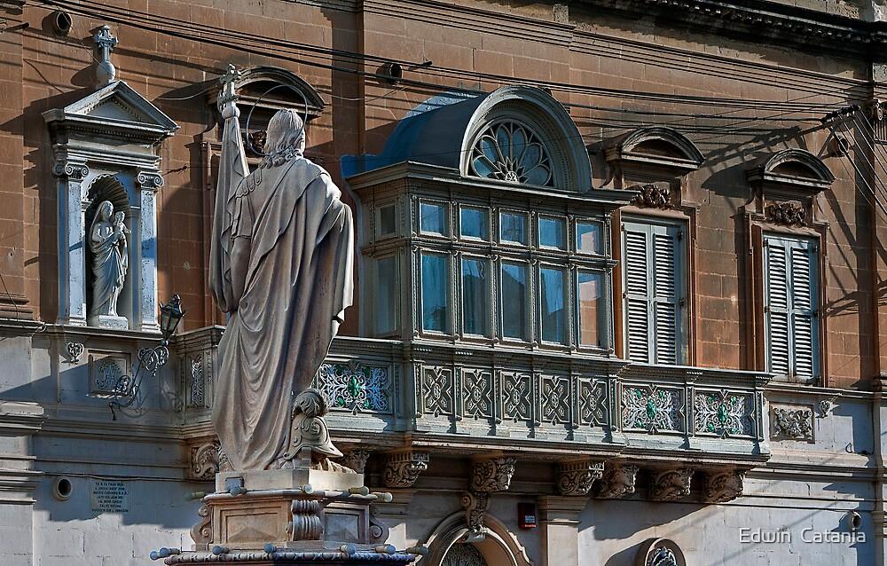 Statue and corner shrine in Qormi (Malta) by Edwin  Catania