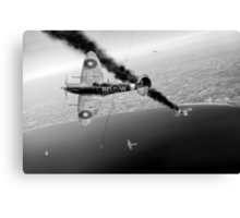 303 Squadron Spitfires in Channel dogfight B&W Canvas Print