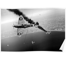 303 Squadron Spitfires in Channel dogfight B&W Poster