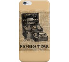 Picnic Time Vintage Illustration Dictionary Book Page Art iPhone Case/Skin