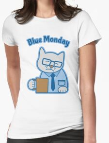 Blue Monday Hipster Cat Office Worker Womens Fitted T-Shirt