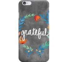 Grateful, watercolor floral wreath iPhone Case/Skin