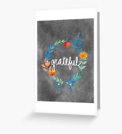 Grateful, watercolor floral wreath Greeting Card