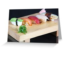 An assortment of various types of sushi  Greeting Card
