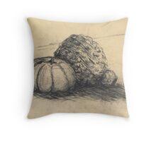 Black & Cream Gourd Pumpkins  Throw Pillow