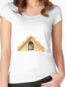 Successful mouse living in a wooden house Women's Fitted Scoop T-Shirt