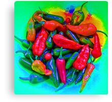 Psychedelic Chillies Canvas Print