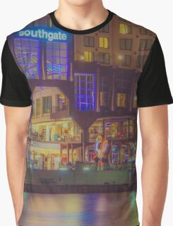 Southgate on the Yarra at Night Time - Melbourne Graphic T-Shirt