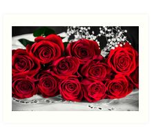 Red Roses Bouquet  Art Print