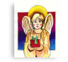Child, Angel in gold with gift Canvas Print