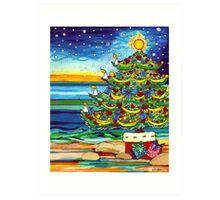 Christmas tree With Stars and Beach Art Print