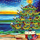 Christmas tree With Stars and Beach by Gillian Sinclair
