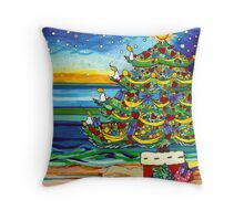 Christmas tree With Stars and Beach Throw Pillow