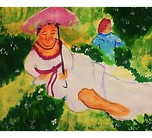 Resting while her child plays, watercolor Photographic Print