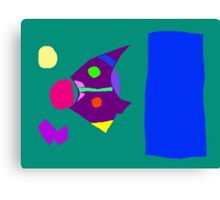 Green Board Purple Bird Blue Sky Yellow Moon Canvas Print