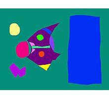 Green Board Purple Bird Blue Sky Yellow Moon Photographic Print