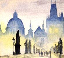 Charles Bridge Prague - Evening Strollers Sticker