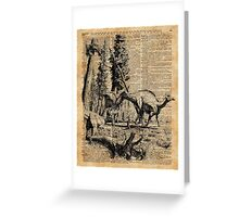 Dinosaurs in Forest Vintage Dictionary Art Illustration Greeting Card