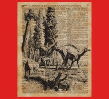 Dinosaurs in Forest Vintage Dictionary Art Illustration One Piece - Short Sleeve