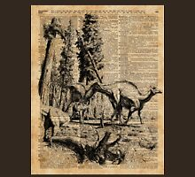 Dinosaurs in Forest Vintage Dictionary Art Illustration T-Shirt