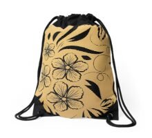 Gold Floral Metallic Pattern Drawstring Bag