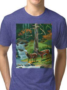 Deer in Autumn Tri-blend T-Shirt