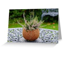 Winter heather in a coconut shell planter Greeting Card