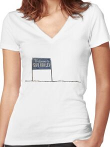 Welcome to Sky Valley - sign Women's Fitted V-Neck T-Shirt